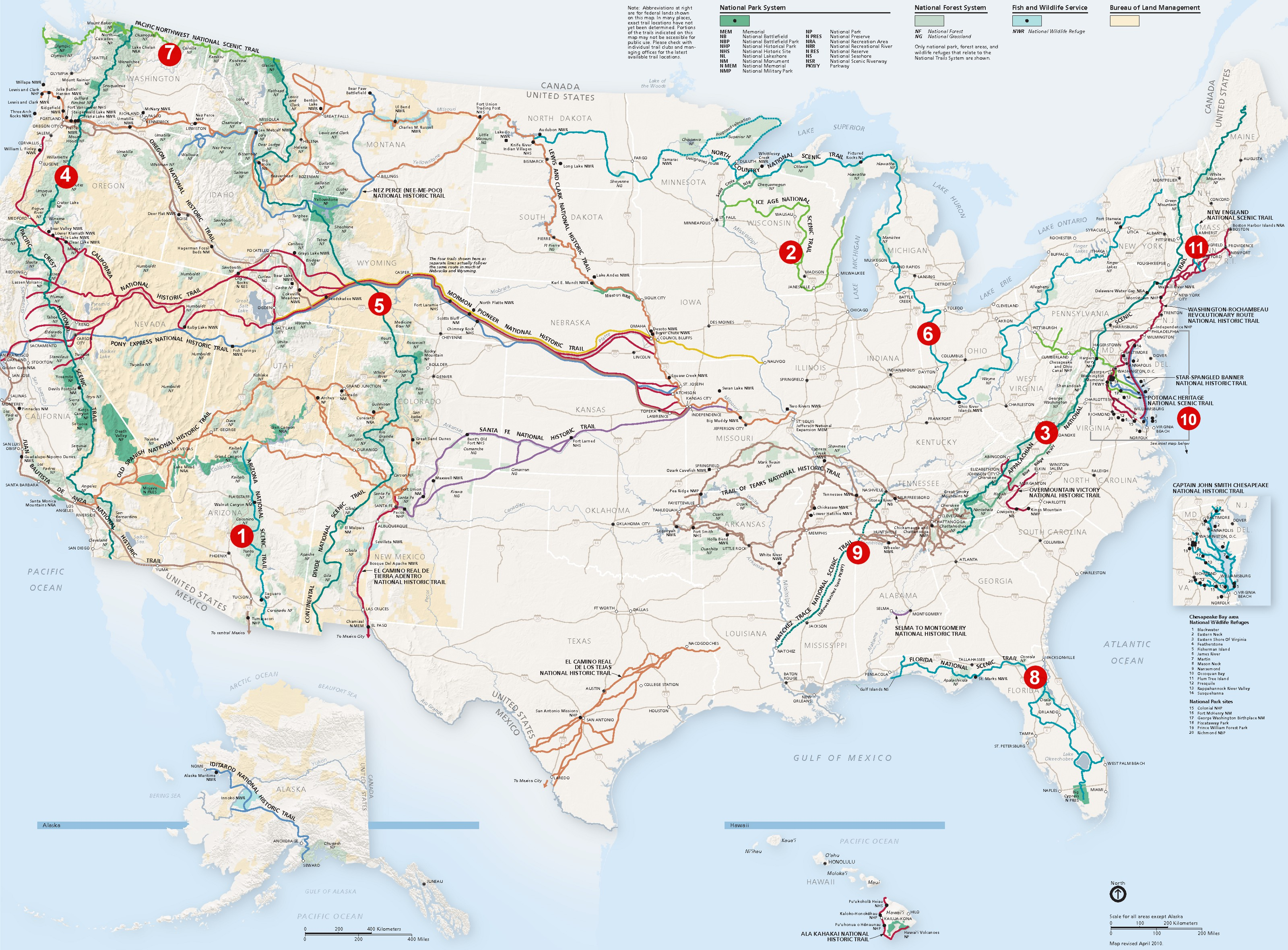 National Scenic Trails Covers All The Major Hiking Trails In The - Us distance map